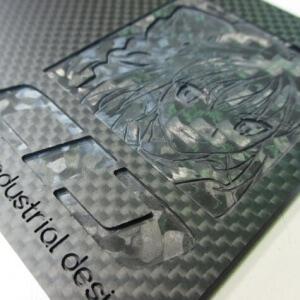 ヒロセ金型 CFRP板材にJPEG画像を切削